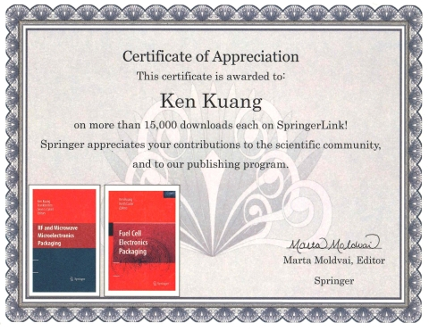 book publisher springer honors tht president ken kuang with